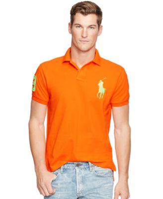 Polo Ralph Lauren Men\u0026#39;s Custom-Fit Big Pony Mesh Polo Shirt