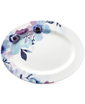 Lenox Indigo Watercolor Floral Porcelain Oval Platter, a Macy's Exclusive Style