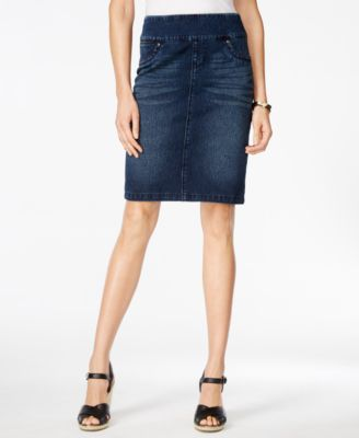 Style & Co. Pull-On Punk Wash Knit Denim Skirt, Only at Macy's ...