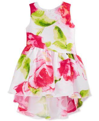 Sweet Heart Rose Little Girls' Floral-Print High-Low Dress ...