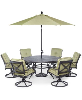 Ciprus Outdoor 7Pc Set 1 Round Dining Table 6 Swivel Chairs