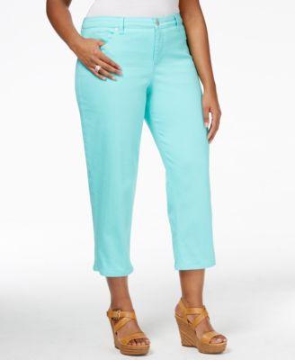Style & Co. Plus Size Tummy-Control Pacific Aqua Wash Capri Jeans ...