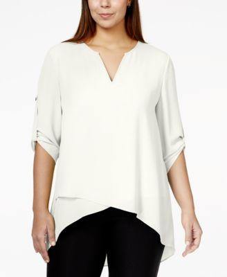 Alfani Plus Size Roll-Tab Layered-Hem Top, Only at Macy's - Tops ...