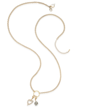 Thalia Sodi Gold-Tone Long Length Crystal Charm Necklace, Only at Macy's