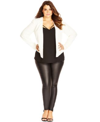 city chic plus size open-front long-sleeve blazer - jackets