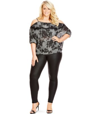 City Chic Plus Size Short-Sleeve Off-Shoulder Blouse - Tops - Plus ...