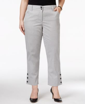Charter Club Plus Size Button-Cuff Capri Pants, Only at Macy's ...