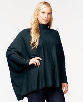 Alfani Plus Size Turtleneck Poncho, Only at Macy's - Sweaters ...
