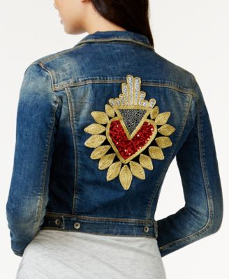 GUESS Whitney Embellished Denim Jacket - Women's Brands - Women ...