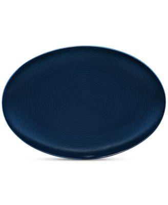 Noritake Navy-On-Navy Swirl Oval Platter