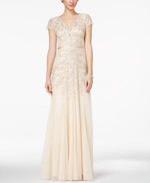 Adrianna Papell Cap-Sleeve Embellished Gown $299.00 AT vintagedancer.com