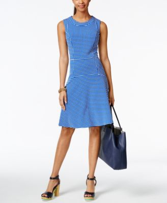 Tommy Hilfiger Sleeveless Belted Fit And Flare Dress