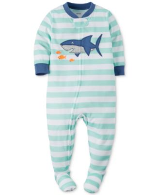 carter s baby boys pc footed striped shark pajamas pajamas  carter s baby boys 1 pc footed striped shark pajamas