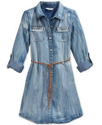 GUESS Girls' Belted Denim Dress - Dresses - Kids & Baby - Macy's