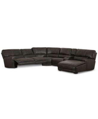 Warrin 6-Pc. Chaise Sectional with 2 Power Motion Recliners  sc 1 st  Macyu0027s : macys leather sectional - Sectionals, Sofas & Couches