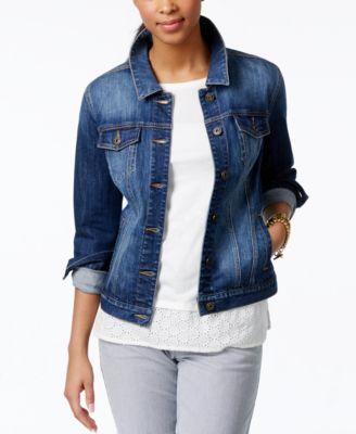 Free People Fitted Bone Wash Denim Jacket - Jackets - Women - Macy&39s