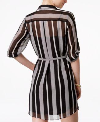BCX Juniors\' Striped Button-Placket Shirtdress - Dresses - Juniors ...