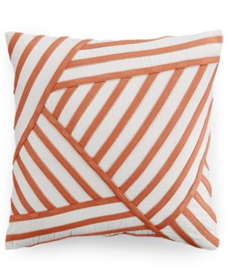 "Hotel Collection Linen Poppy Stripe 18"" Square Decorative Pillow, Only at Macy's"