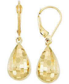 Mirror-Cut Teardrop Drop Earrings in 14k Gold