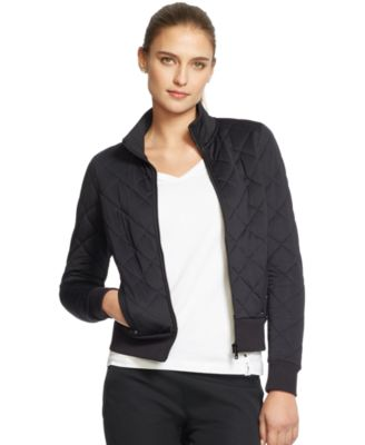 Womens Black Quilted Bomber Jacket Fit Jacket