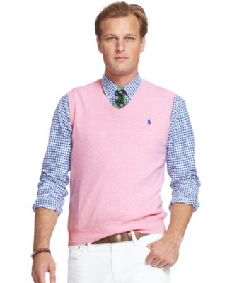 Polo Ralph Lauren Big and Tall Pima V-Neck Vest - Sweaters - Men ...