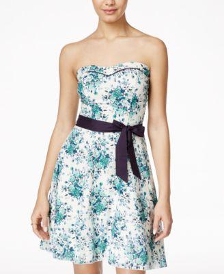 Speechless Juniors Floral Print Bubble Hem Dress