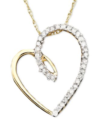 Diamond heart pendant necklace in 14k gold 110 ct tw diamond heart pendant necklace in 14k gold 110 ct tw mozeypictures Choice Image