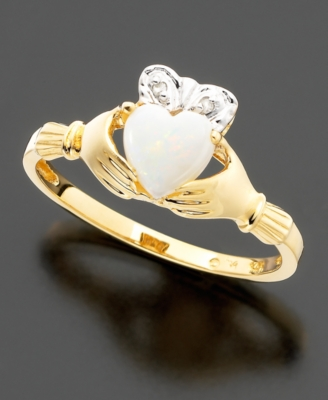 14k Gold Opal (3/8 ct. t.w.) & Diamond Accented Claddagh Ring