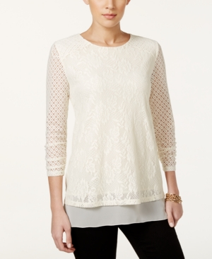 Style  Co. Petite Ruched-Sleeve Lace Blouse Only at Macys $23.99 AT vintagedancer.com
