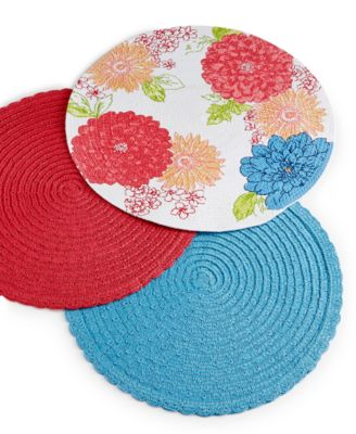 Homewear Floral Placemats Collection Petal Round Teal Placemat
