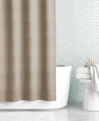 martha stewart collection textured stripe hookless shower curtain