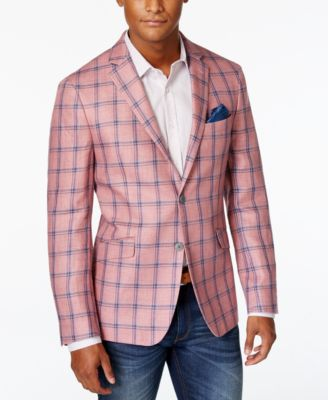 Tallia Men's Pink Plaid Linen Slim Fit Sport Coat - Blazers ...