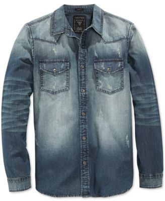 GUESS Men's Denim Blue Bottle Wash Long-Sleeve Shirt - Casual ...