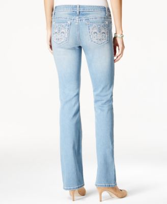 Earl Jeans Juniors' Embellished-Pocket Light Wash Barely-Bootcut ...