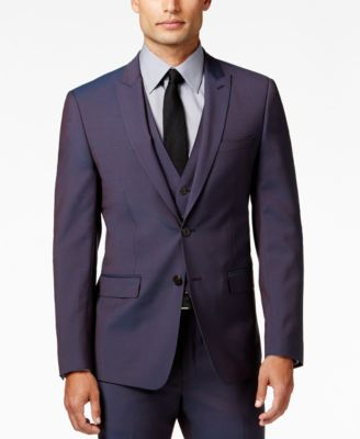 Calvin Klein X-Fit Men's Purple Haze Extra Slim-Fit Vested Suit ...