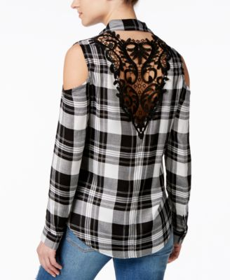 Material Girl Juniorsu0027 Lace Back Cold Shoulder Plaid Shirt, Only At Macyu0027s