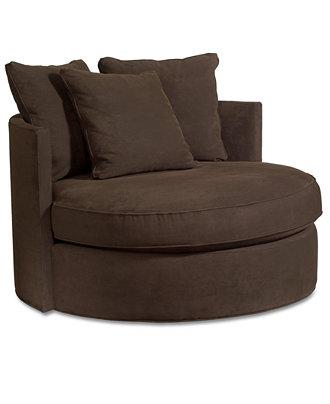 Doss Godiva Fabric Microfiber Round Swivel Living Room Chair Furniture Ma