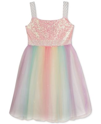 Rare Editions Girls' Sequin-Top Rainbow Dress - Dresses - Kids ...