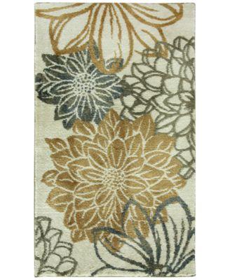 "Bacova Cashlon Garden Gold Floral-Print 27"" x 45"" Bath Rug"