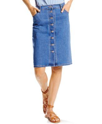 Tommy Hilfiger Denim Button-Front Medium Wash Pencil Skirt ...