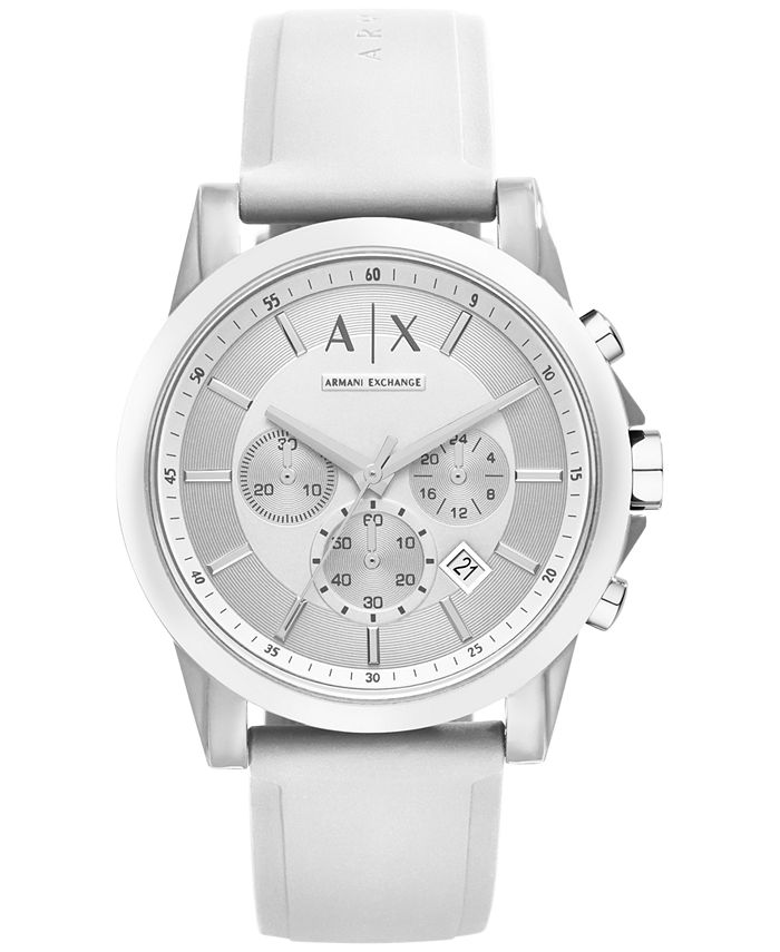 A|X Armani Exchange - Unisex Chronograph White Silicone Strap Watch 44mm X1325