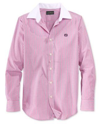 Lauren Ralph Lauren Boys' Pink Pinstripe Shirt - Shirts & Tees ...