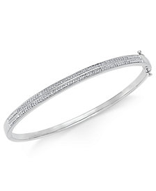 Diamond Pavé Bangle Bracelet (1/4 ct. tw.) in 14k Gold Over Sterling Silver, 14K Rose Gold Over Sterling Silver or Sterling Silver