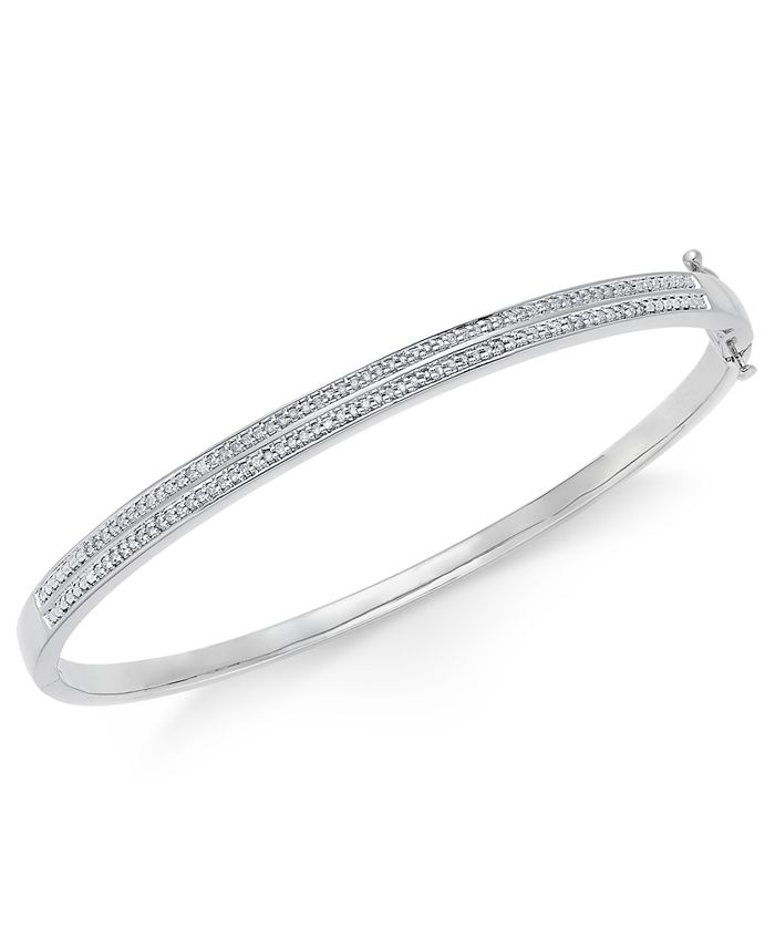 Macy's - Diamond Pavé Bangle Bracelet (1/4 ct. tw.) in 14k Gold Over Sterling Silver