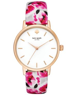 kate spade new york Women's Metro Multicolor Printed Leather Strap Watch 34mm...