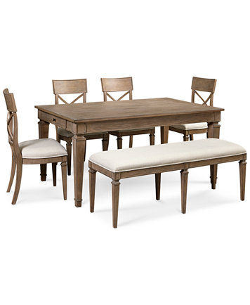 Winston 6 Piece Dining Set Table 4 Side Chairs Bench