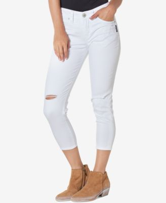 Silver Jeans Suki Ripped White Wash Capri Jeans - Leggings & Pants ...
