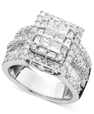 diamond ring in 14k white gold 3 ct t w rings jewelry