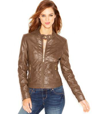 Celebrity Pink Faux-Leather Moto Jacket - Coats - Women - Macy's