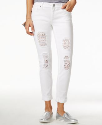Vanilla Star Juniors&39 Lace-Trim Ripped Cuffed Cropped White Jeans